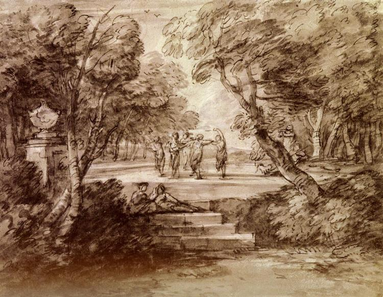 Dancers With Musicians In A Woodland Glade, 1733 - Thomas Gainsborough