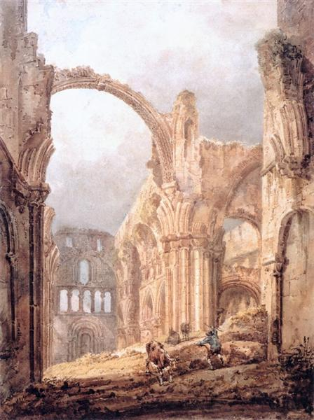 Interior of Lindisfarne Priory, 1797 - Thomas Girtin