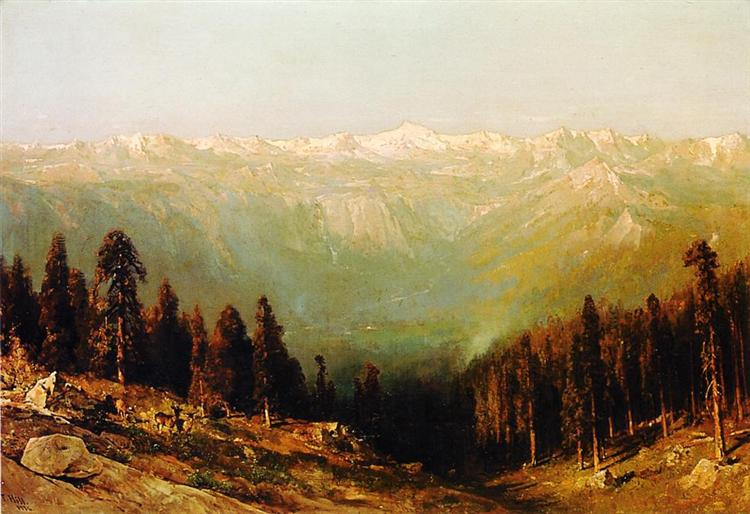 A View of the Hetch Hetchy Valley with Deer in the Foreground and Mount Conness in the Distance, 1884 - Thomas Hill