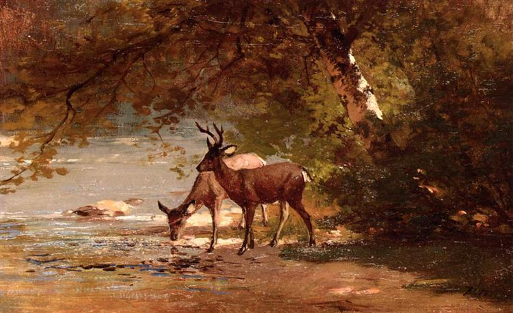 Deer in a Landscape - Thomas Hill