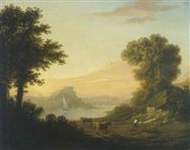 Paesaggio classico con un fiume - Thomas Jones