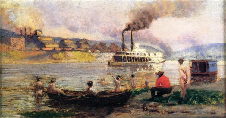 The Visit of the Beggar and her Child Steamboat on the Ohio - Томас Поллок Аншутц