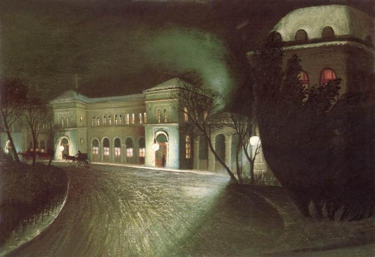 The Eastern Railway Station at Night - Tivadar Kosztka Csontvary