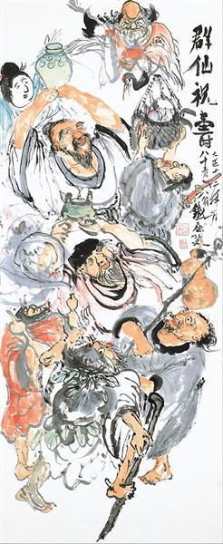 Taoist Immortals Celebrating Longevity - Tomioka Tessai