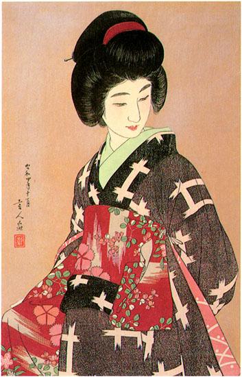 Preparing Her Sash (gray variant), 1933 - Torii Kotondo