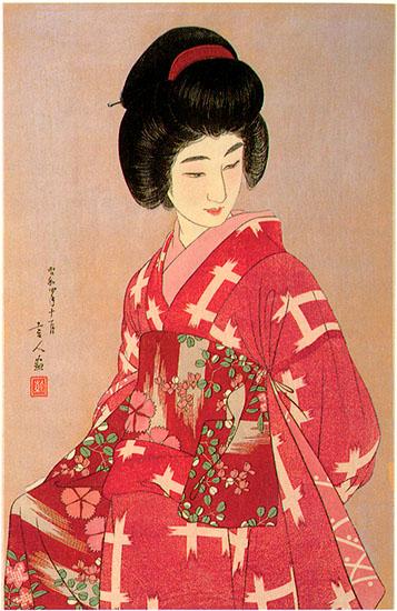 Preparing Her Sash (pink variant), 1933 - Torii Kotondo