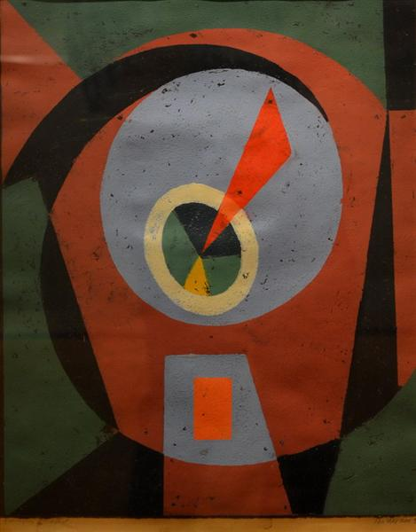 Composition With Red Triangle, 1963 - Vasile Dobrian