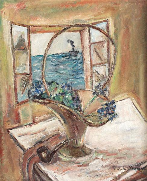 Still Life with Pipe and Basket Full of Violets, 1930 - Vasile Popescu