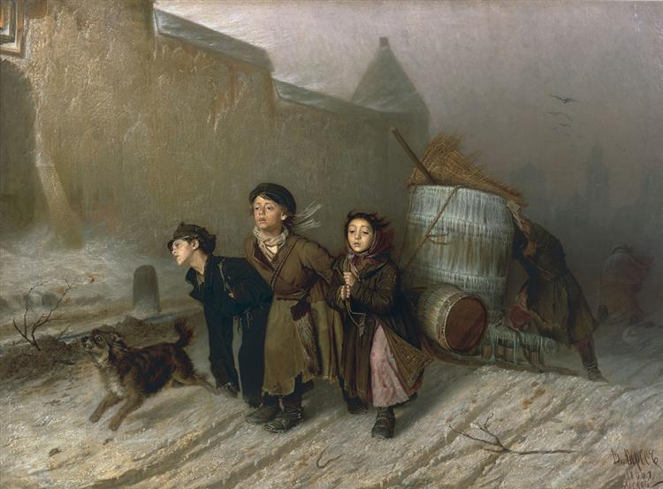 Troika. Apprentice Workmen Carrying Water, 1866 - Wassili Grigorjewitsch Perow