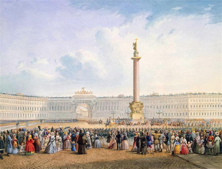 View of Palace Square and the General Headquarters Building in St. Petersburg, c.1847 - Vasily Sadovnikov