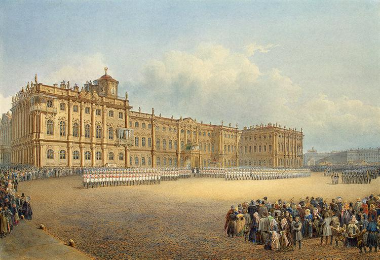 View of the Winter Palace from the Admiralty, 1839 - Vasily Sadovnikov