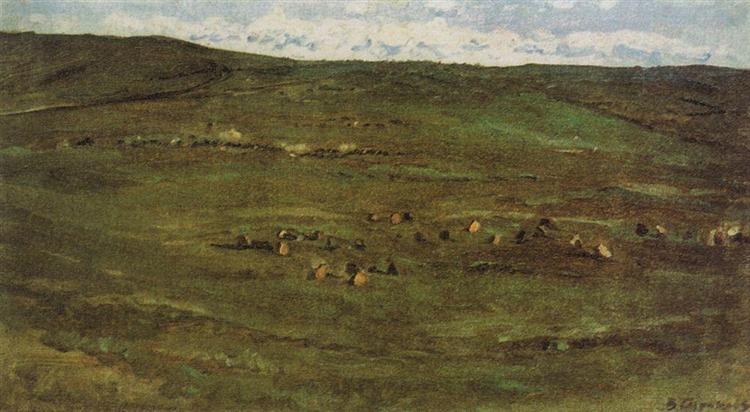A herd of horses in Baraba steppes, c.1895 - Vasily Surikov