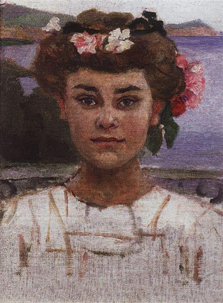 Head of girl. Portrait of Z. S. Khaminova., 1908 - Vasily Surikov