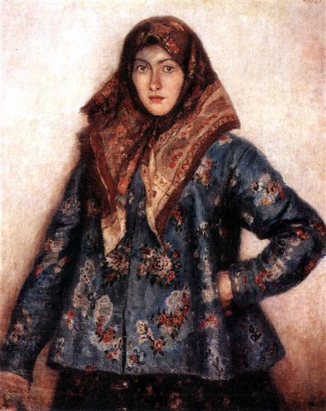 Portrait of L. T. Matorina. Cossack woman., 1892 - Vasily Surikov