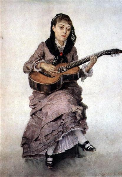 Portrait of princess S. A. Kropotkina with guitar, 1882 - Vasily Surikov