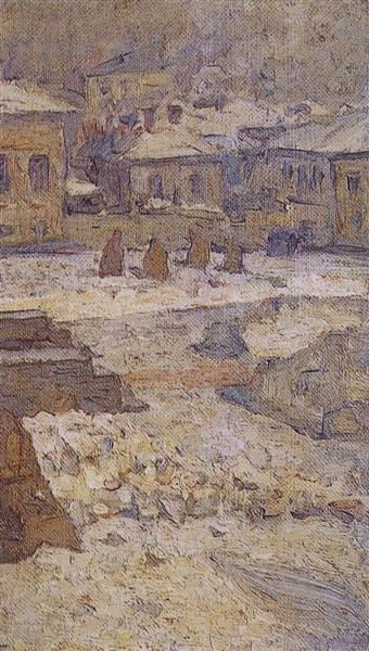 Square in front of the Museum of Fine Arts in Moscow, c.1913 - Vasily Surikov