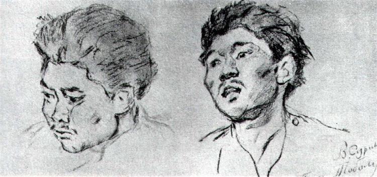 Study of khakasy, c.1892 - Vasily Surikov