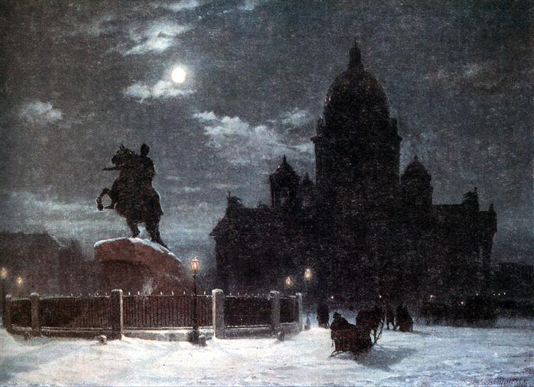 View of monument to Peter I on the Senate Square in St. Petersburg - Vasily Surikov