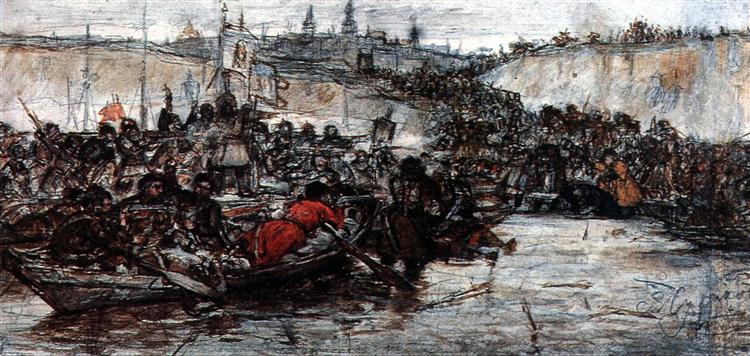 Yermak's conquest of Siberia (study), c.1891 - Vasily Surikov