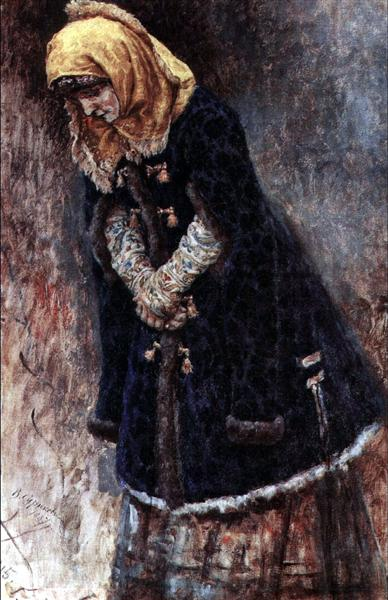 Young lady with blue fur coat, 1887 - Vasily Surikov