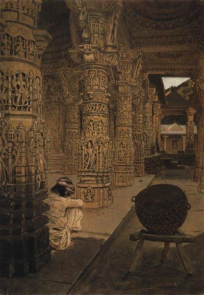The colonnade in the Jain temple at Mount Abu in the evening, 1874 - 1876 - Vasily Vereshchagin