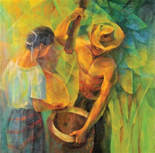 Ang Magbabayo (Pounding Rice) - Vicente Manansala