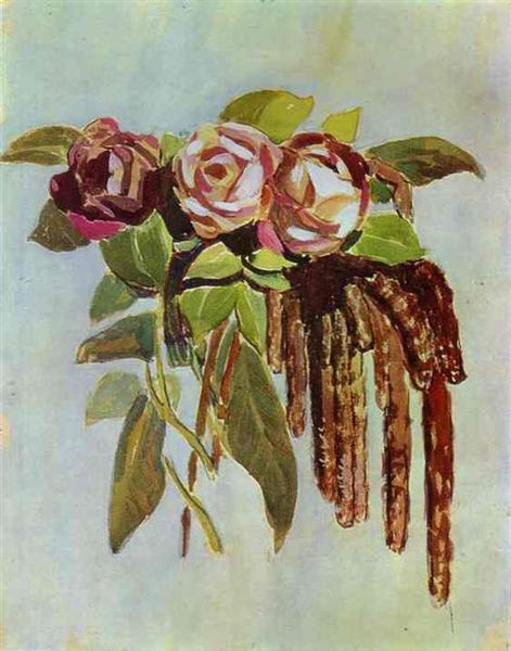 Roses and Catkins, c.1902 - Victor Borisov-Musatov