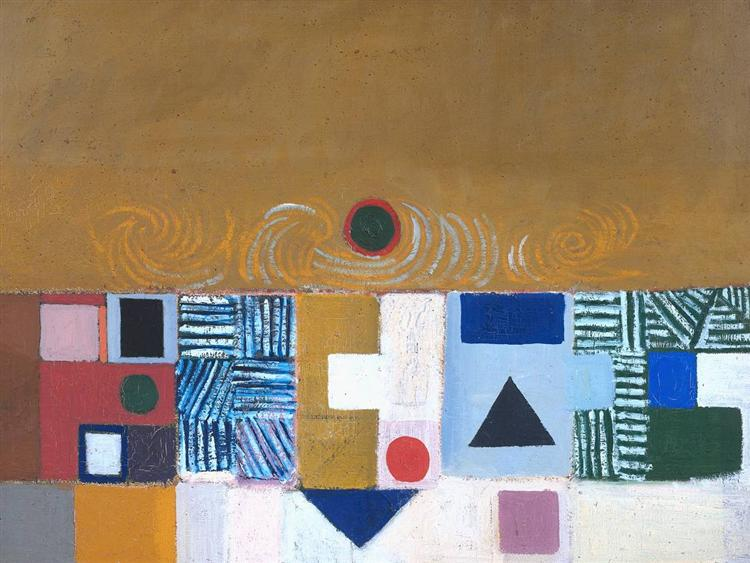 Square Motif, Blue and Gold: The Eclipse - Victor Pasmore