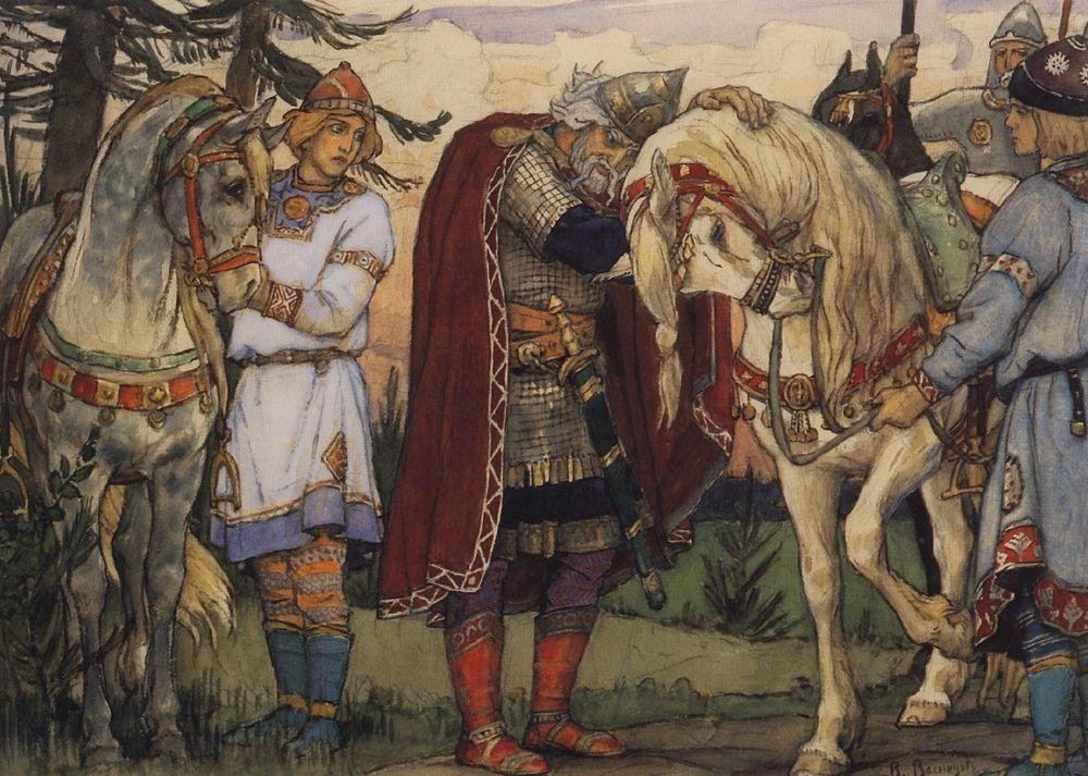 Viktor Vasnecov - Page 2 Oleg-s-farewell-to-his-horce-1899