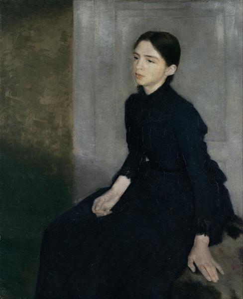 Portrait of a young woman. The artist's sister Anna Hammershøi, 1885 - Vilhelm Hammershoi