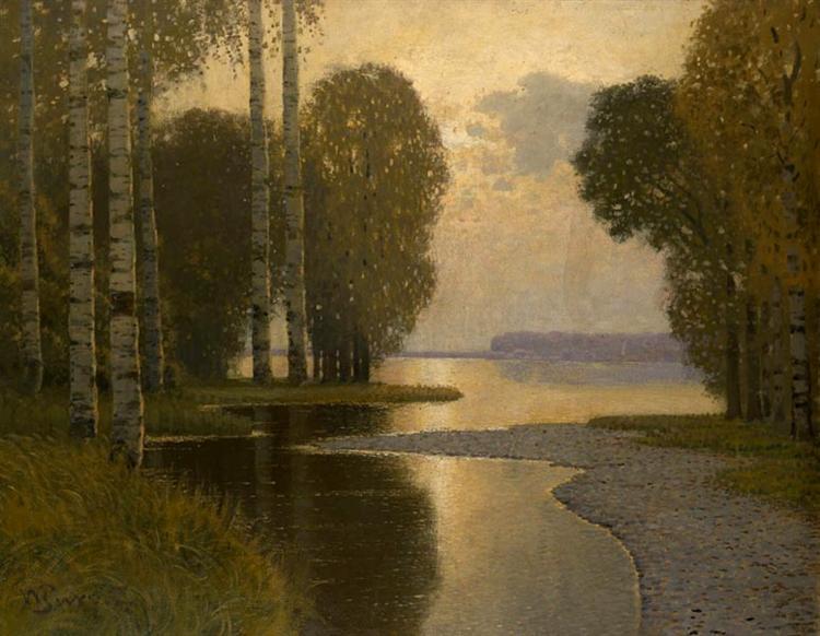 Landscape with Birch trees, 1910 - Вильгельм Пурвит