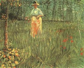 Una mujer de pie en el jardín, Vincent van Gogh