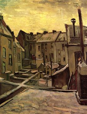 Patios traseros de las casas viejas en Amberes en la nieve, Vincent van Gogh