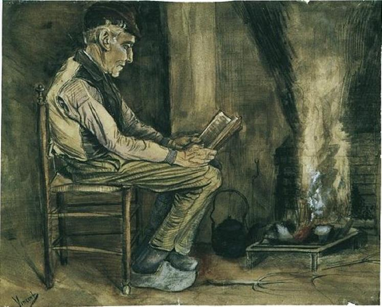 Farmer sitting at the fireside and reading, 1881 - Vincent van Gogh