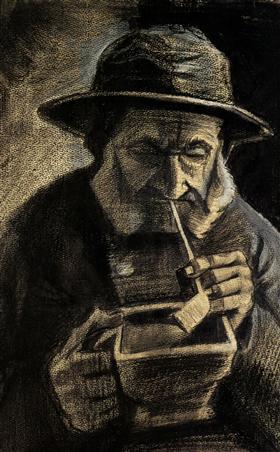 Pescador con Sou'wester, tuberías y Carbón-pan, Vincent van Gogh