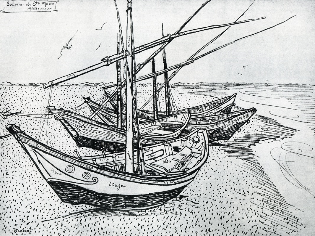 THE SEA AT LES SAINTES MARIES DE LA MER FRANCE BOAT PAINTING BY VAN GOGH REPRO