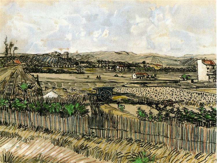 Harvest in Provence, at the Left Montmajour, 1888 - Vincent van Gogh
