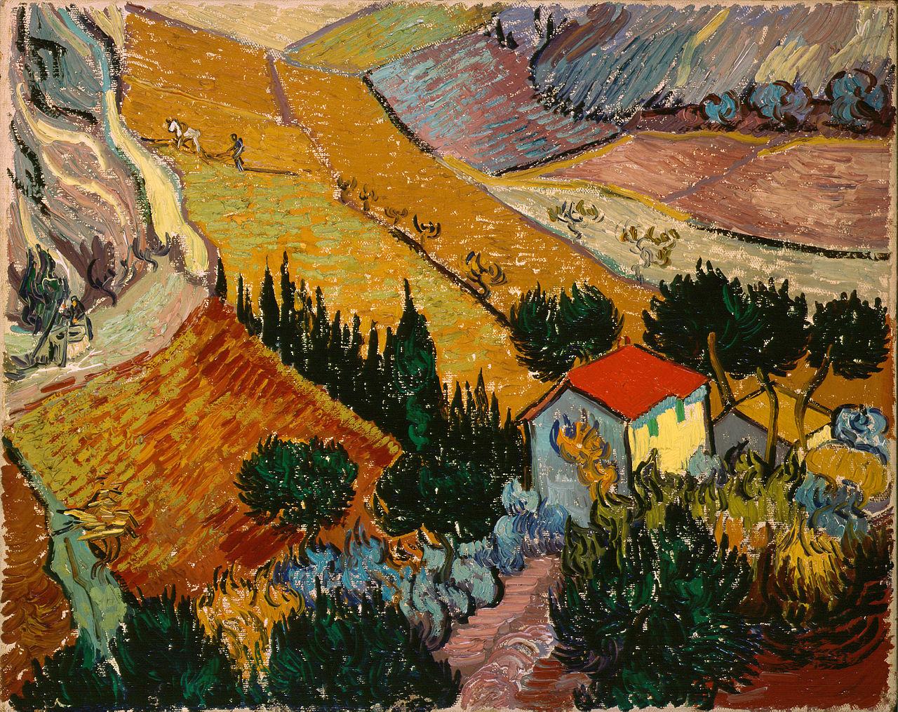Landscape with House and Ploughman, 1889 - Vincent van Gogh ...