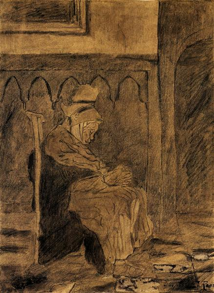 Old Woman Asleep after Rops, 1873 - Vincent van Gogh