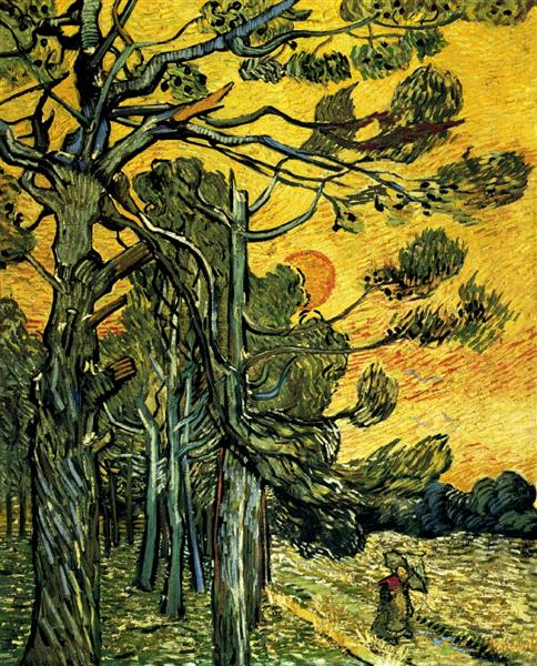 Pine Trees against a Red Sky with Setting Sun, 1889 - Vincent van Gogh
