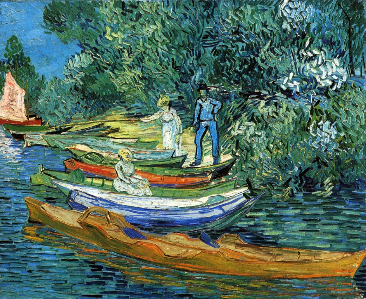 Rowing boats on the banks of the oise 1890 vincent van for Van gogh paintings locations