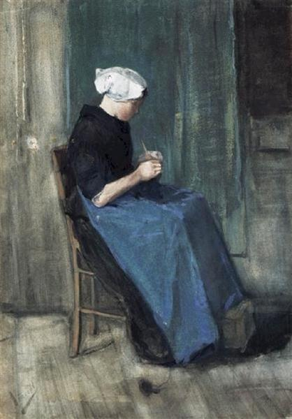 Scheveningen Woman Knitting, 1881 - Vincent van Gogh