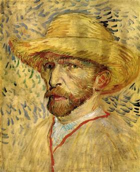 Autorretrato con sombrero de paja, Vincent van Gogh