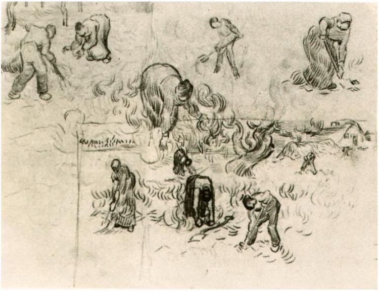 Sheet With Sketches Of Working People 1890 - Vincent Van Gogh - WikiArt.org