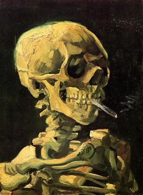 Cráneo con el cigarrillo ardiente, Vincent van Gogh