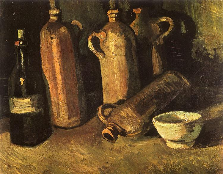 Still Life with Four Stone Bottles, Flask and White Cup, 1884 - Винсент Ван Гог