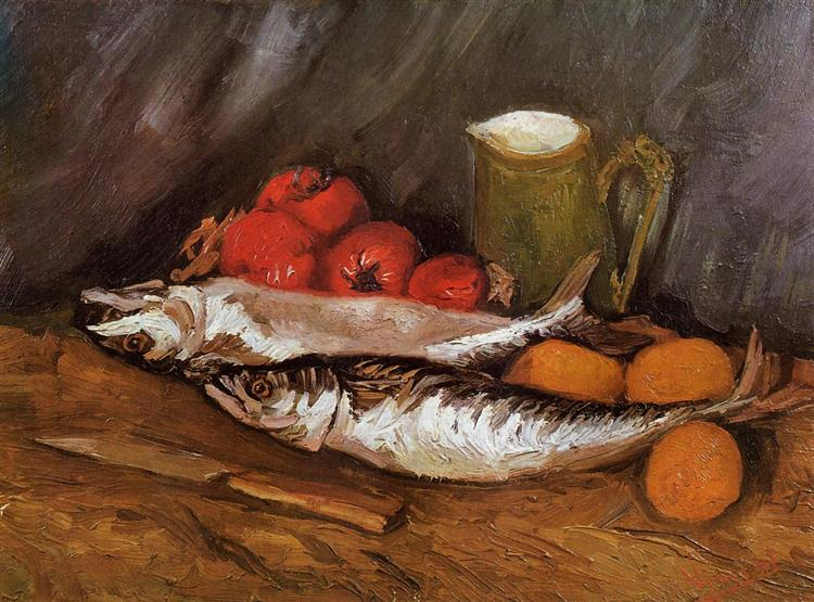 Still Life with Mackerels, Lemons and Tomatoes, 1886 - Vincent van Gogh