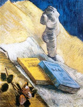 Todavía vida con la figurilla del yeso, una Rose y dos novelas, Vincent van Gogh
