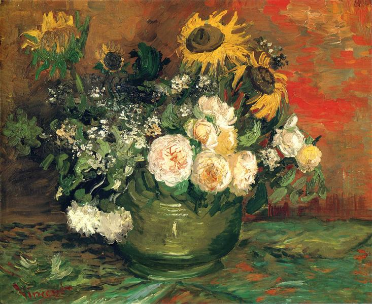 Still Life with Roses and Sunflowers, 1886 - Vincent van Gogh