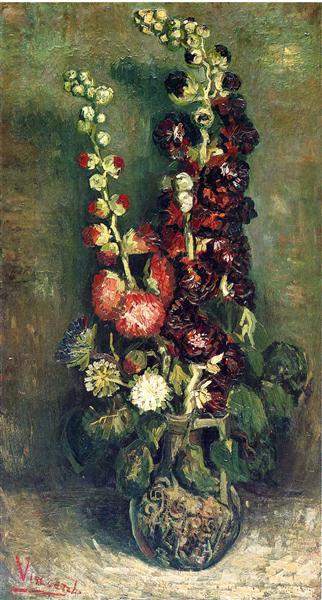 Vase Of Hollyhocks 1886 Vincent Van Gogh Wikiart
